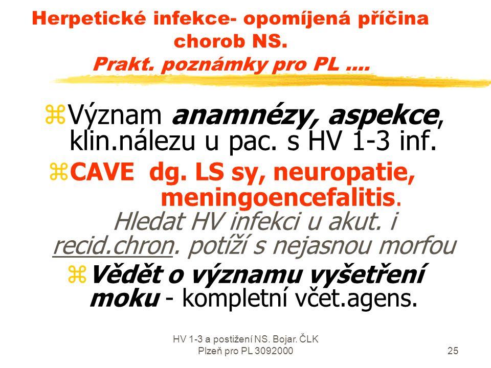 HV 1-3 a postižení NS. Bojar. ČLK Plzeň pro PL 309200024 Herpetické infekce v ordinaci PL- Prakt.