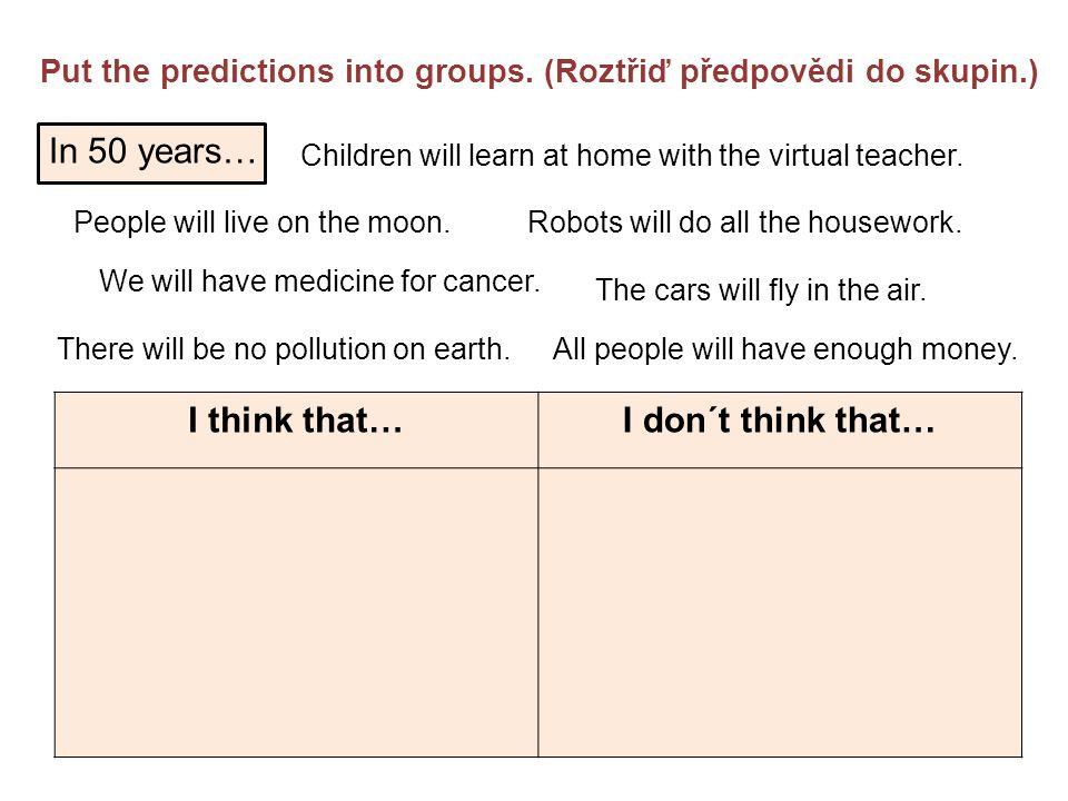 In 50 years… Put the predictions into groups.
