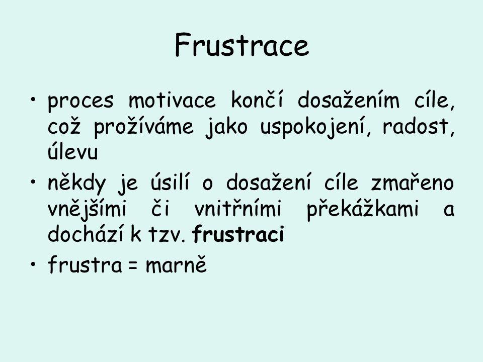 Frustrace proces motivace končí dosažením cíle, což prožíváme jako uspokojení, radost, úlevu někdy je úsilí o dosažení cíle zmařeno vnějšími či vnitřn