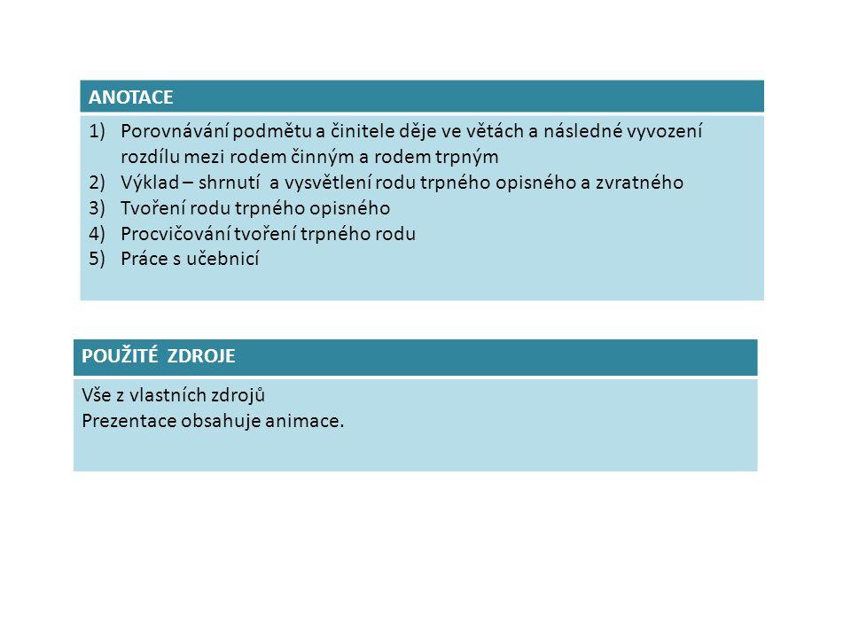 ANOTACE 1)Porovnávání podmětu a činitele děje ve větách a následné vyvození rozdílu mezi rodem činným a rodem trpným 2)Výklad – shrnutí a vysvětlení rodu trpného opisného a zvratného 3)Tvoření rodu trpného opisného 4)Procvičování tvoření trpného rodu 5)Práce s učebnicí POUŽITÉ ZDROJE Vše z vlastních zdrojů Prezentace obsahuje animace.