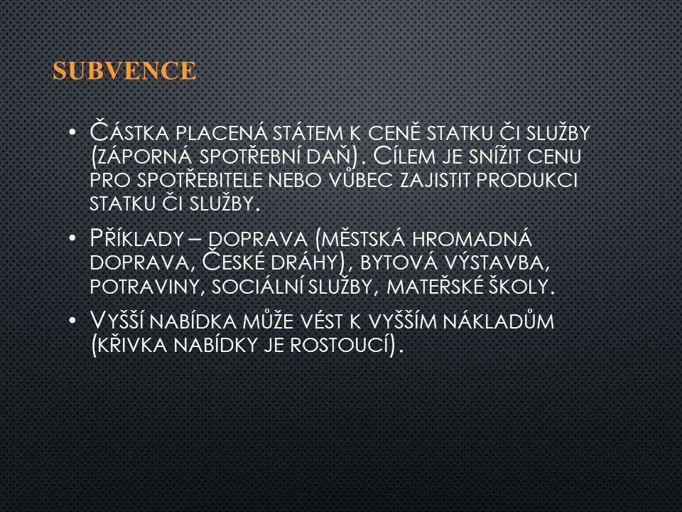 SUBVENCE Č ÁSTKA PLACENÁ STÁTEM K CENĚ STATKU ČI SLUŽBY ( ZÁPORNÁ SPOTŘEBNÍ DAŇ ).