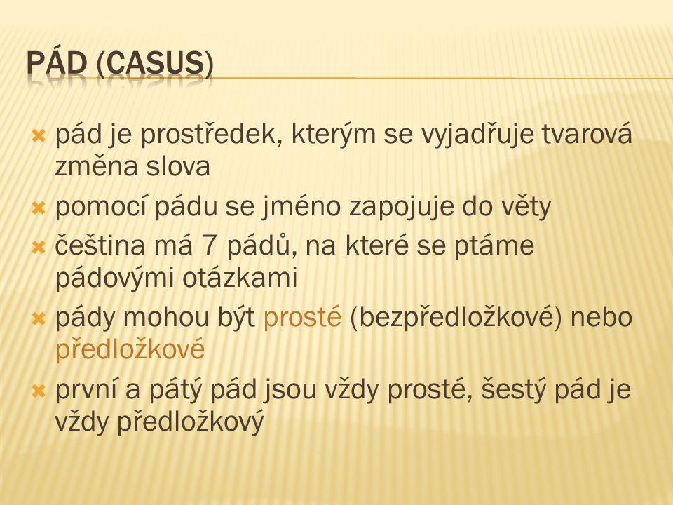  pád je prostředek, kterým se vyjadřuje tvarová změna slova  pomocí pádu se jméno zapojuje do věty  čeština má 7 pádů, na které se ptáme pádovými otázkami  pády mohou být prosté (bezpředložkové) nebo předložkové  první a pátý pád jsou vždy prosté, šestý pád je vždy předložkový