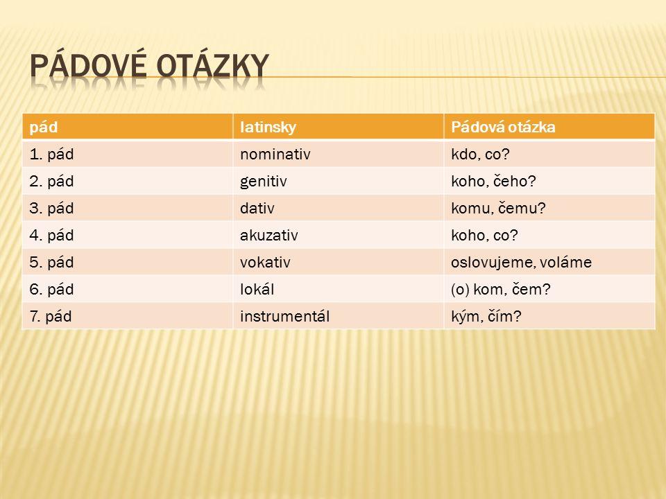 pádlatinskyPádová otázka 1. pádnominativkdo, co. 2.