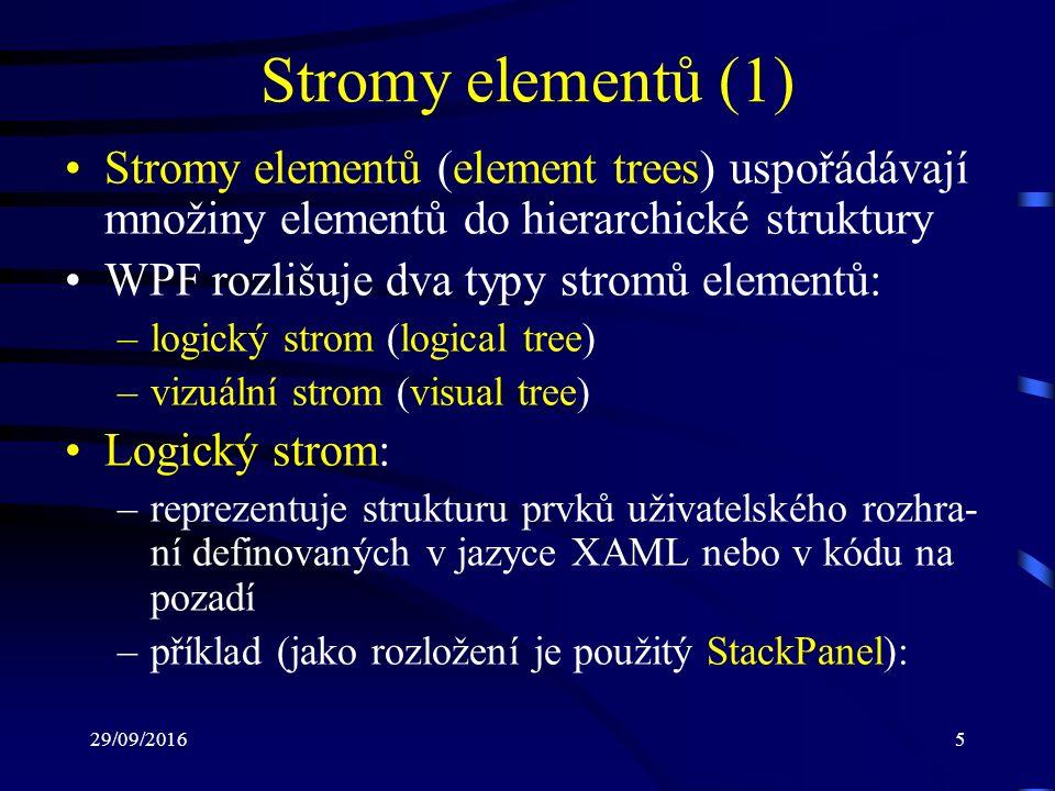29/09/20165 Stromy elementů (1) Stromy elementů (element trees) uspořádávají množiny elementů do hierarchické struktury WPF rozlišuje dva typy stromů elementů: –logický strom (logical tree) –vizuální strom (visual tree) Logický strom: –reprezentuje strukturu prvků uživatelského rozhra- ní definovaných v jazyce XAML nebo v kódu na pozadí –příklad (jako rozložení je použitý StackPanel):