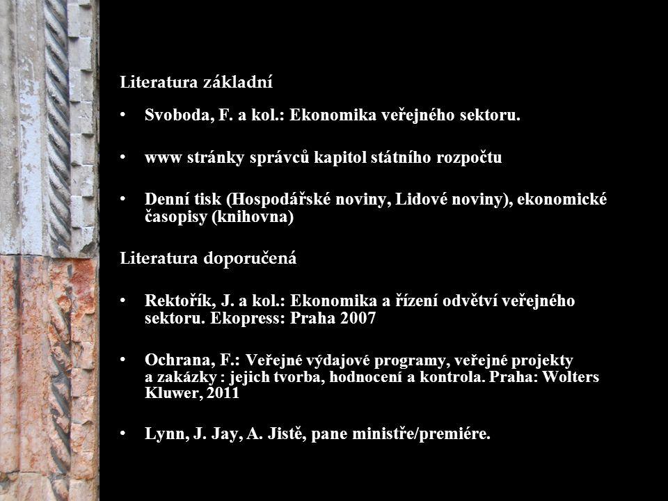 Literatura základní Svoboda, F. a kol.: Ekonomika veřejného sektoru.