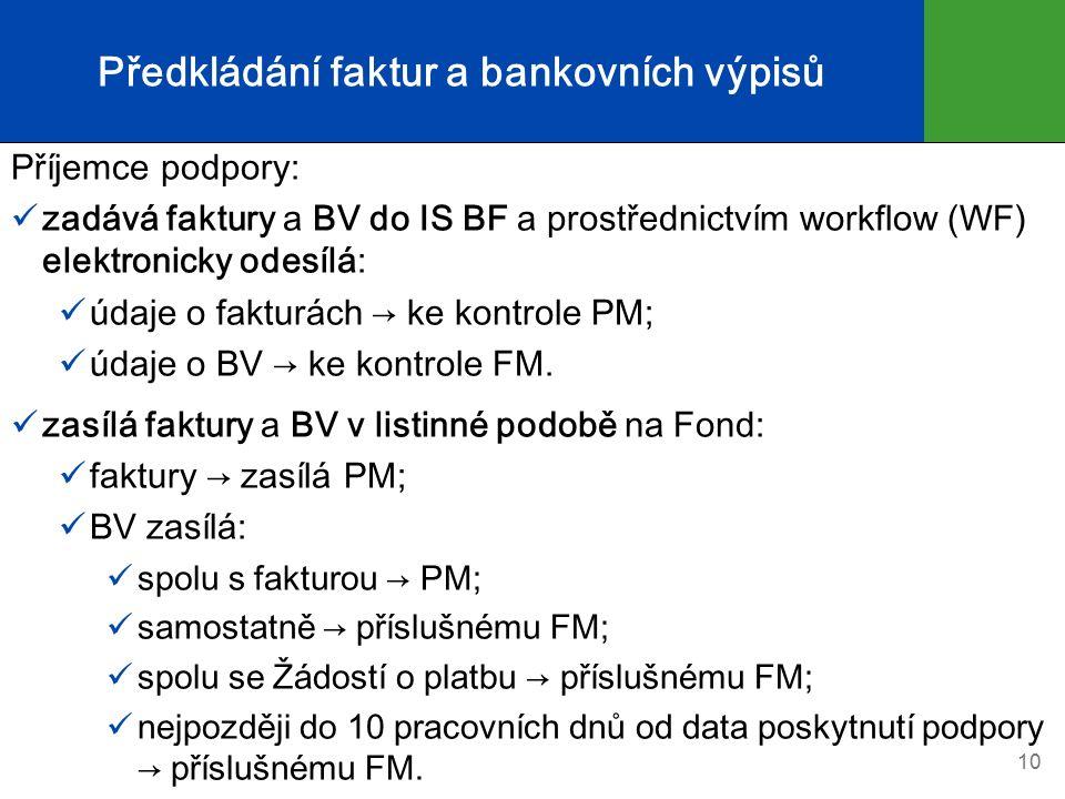 Předkládání faktur a bankovních výpisů Příjemce podpory: zadává faktury a BV do IS BF a prostřednictvím workflow (WF) elektronicky odesílá: údaje o fakturách → ke kontrole PM; údaje o BV → ke kontrole FM.