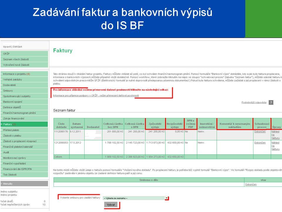 Zadávání faktur a bankovních výpisů do IS BF 13