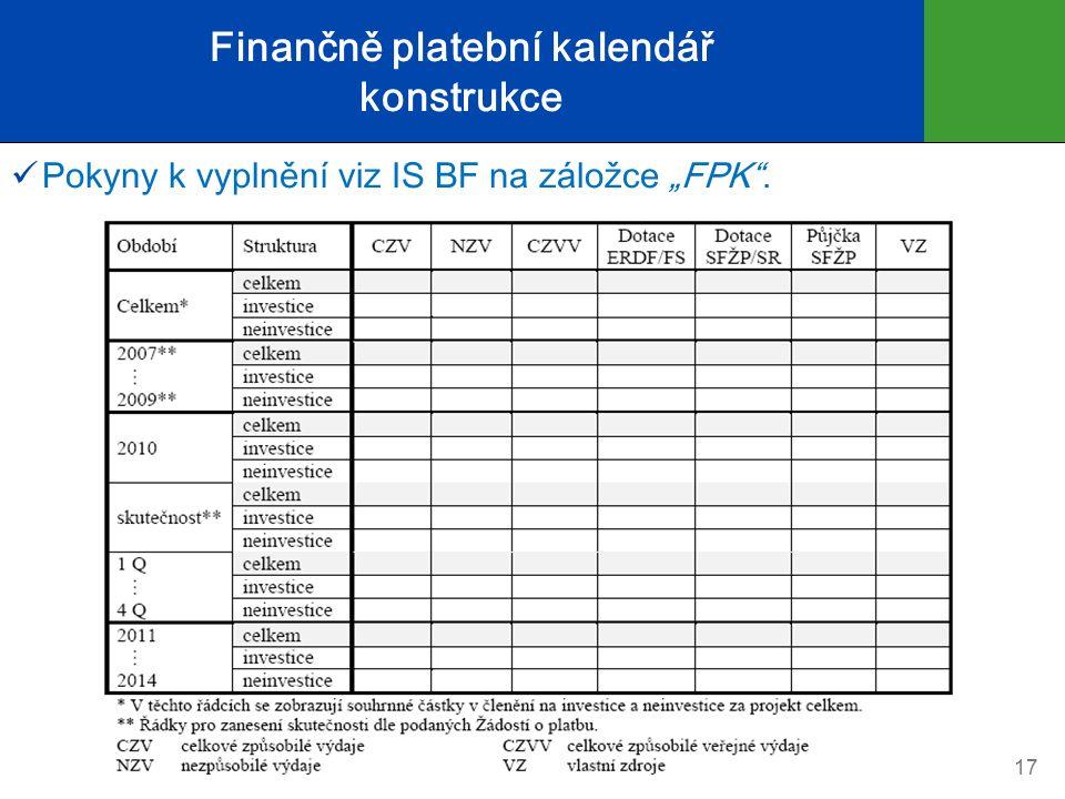 """Finančně platební kalendář konstrukce Pokyny k vyplnění viz IS BF na záložce """"FPK . 17"""
