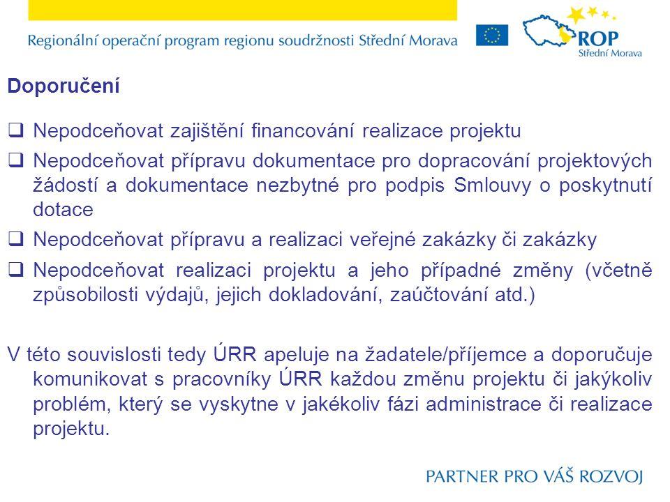 Doporučení  Nepodceňovat zajištění financování realizace projektu  Nepodceňovat přípravu dokumentace pro dopracování projektových žádostí a dokument