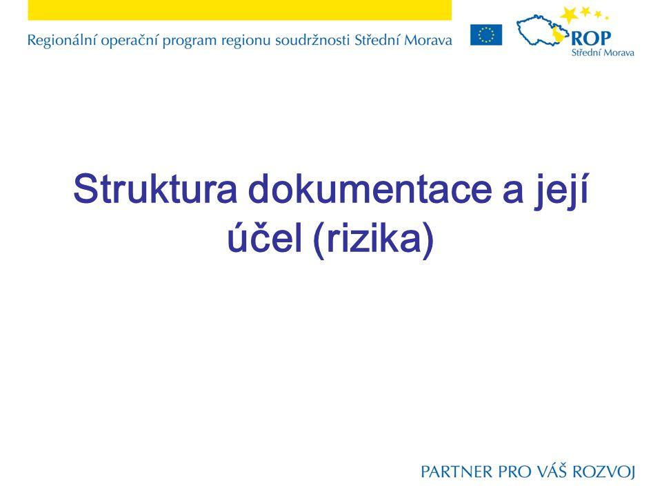 Struktura dokumentace a její účel (rizika)