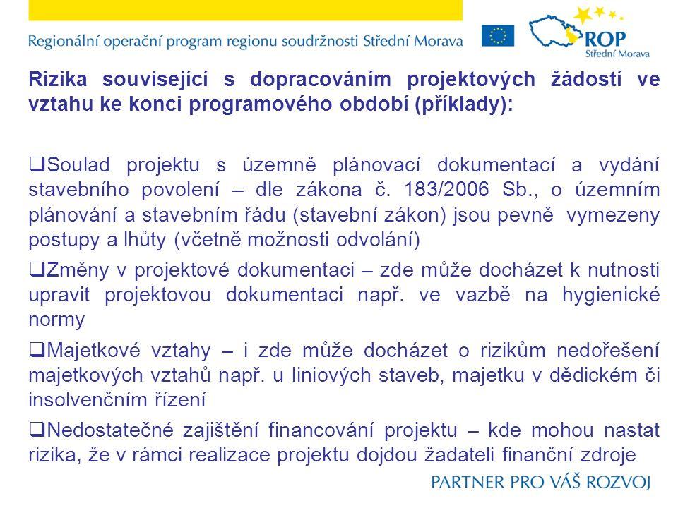 Rizika související s dopracováním projektových žádostí ve vztahu ke konci programového období (příklady):  Soulad projektu s územně plánovací dokumen