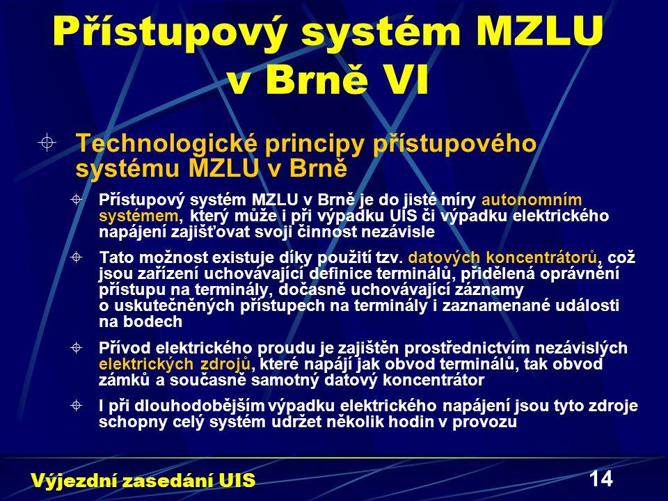 14 Přístupový systém MZLU v Brně VI  Technologické principy přístupového systému MZLU v Brně  Přístupový systém MZLU v Brně je do jisté míry autonomním systémem, který může i při výpadku UIS či výpadku elektrického napájení zajišťovat svoji činnost nezávisle  Tato možnost existuje díky použití tzv.
