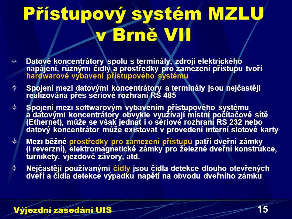 15 Přístupový systém MZLU v Brně VII  Datové koncentrátory spolu s terminály, zdroji elektrického napájení, různými čidly a prostředky pro zamezení přístupu tvoří hardwarové vybavení přístupového systému  Spojení mezi datovými koncentrátory a terminály jsou nejčastěji realizována přes sériové rozhraní RS 485  Spojení mezi softwarovým vybavením přístupového systému a datovými koncentrátory obvykle využívají místní počítačové sítě (Ethernet), může se však jednat i o sériové rozhraní RS 232 nebo datový koncentrátor může existovat v provedení interní slotové karty  Mezi běžné prostředky pro zamezení přístupu patří dveřní zámky (i reverzní), elektromagnetické zámky pro železné dveřní konstrukce, turnikety, vjezdové závory, atd.