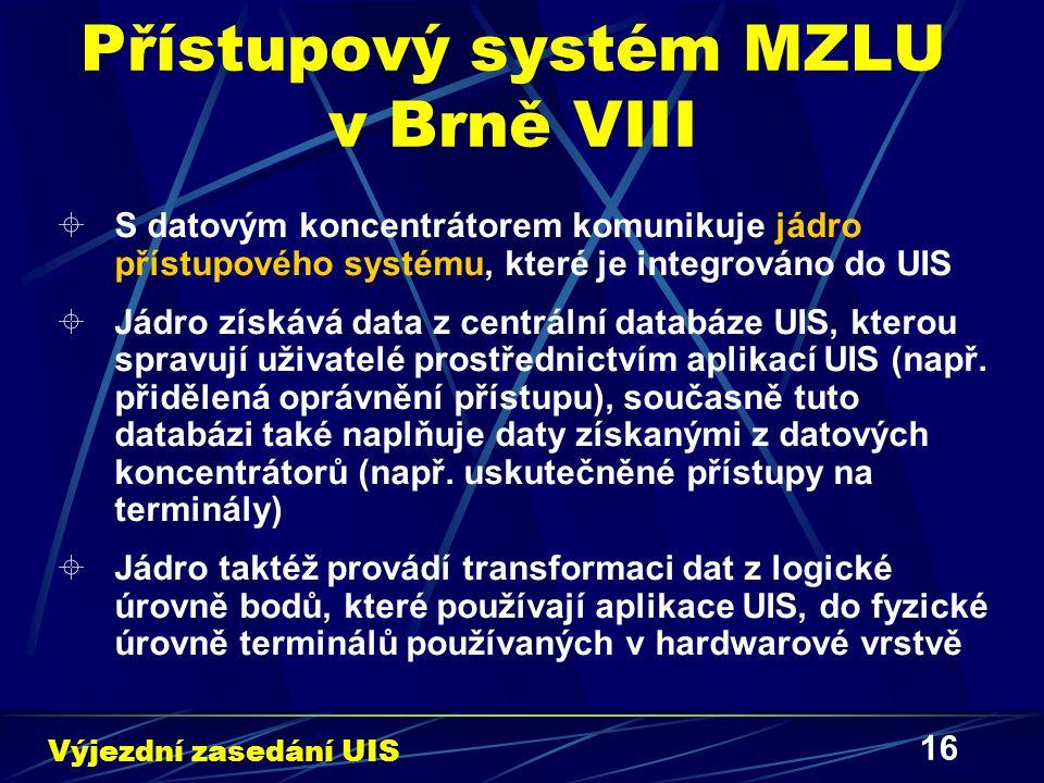 16 Přístupový systém MZLU v Brně VIII  S datovým koncentrátorem komunikuje jádro přístupového systému, které je integrováno do UIS  Jádro získává data z centrální databáze UIS, kterou spravují uživatelé prostřednictvím aplikací UIS (např.