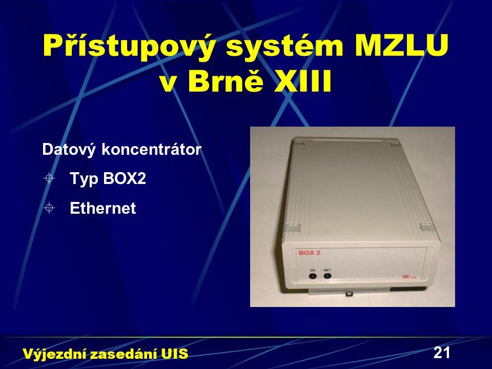 21 Přístupový systém MZLU v Brně XIII Datový koncentrátor  Typ BOX2  Ethernet Výjezdní zasedání UIS