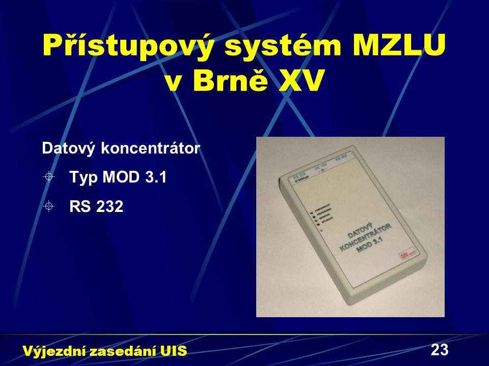 23 Přístupový systém MZLU v Brně XV Datový koncentrátor  Typ MOD 3.1  RS 232 Výjezdní zasedání UIS