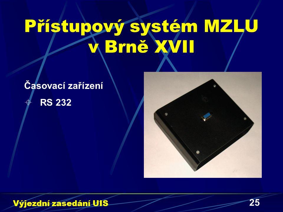 25 Přístupový systém MZLU v Brně XVII Časovací zařízení  RS 232 Výjezdní zasedání UIS
