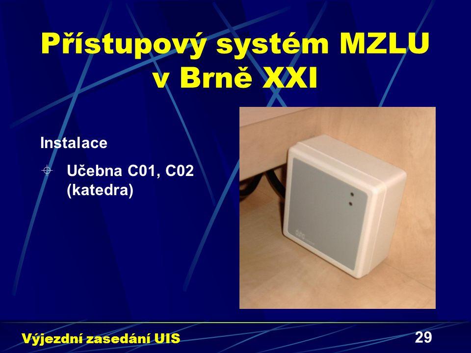 29 Přístupový systém MZLU v Brně XXI Instalace  Učebna C01, C02 (katedra) Výjezdní zasedání UIS