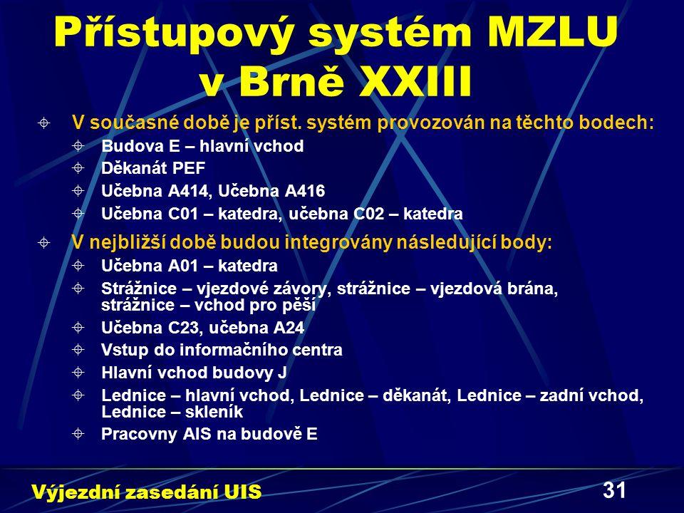 31 Přístupový systém MZLU v Brně XXIII  V současné době je příst.