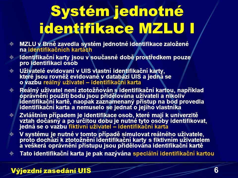 7 Systém jednotné identifikace MZLU II  Identifikační karty obsahují elektronický čip a jedná se o bezkontaktní princip čtení identifikační informace z média  V současné době se vyvíjí a integruje do UIS Identifikační systém MZLU v Brně  Identifikační systém se skládá z následujících subsystémů:  Přístupový systém  Kamerový systém  Elektronický zabezpečovací systém (EZS)  Elektronický protipožární systém (EPS)  Systém měřící a autoregulační techniky  Subsystémy je možné provozovat samostatně dle předem stanovených bezpečnostních potřeb  Interakcí uvedených subsystémů dochází k významnému zvýšení užitné hodnoty nejen z hlediska úrovně bezpečnosti a spolehlivosti, ale i z hlediska uživatelského komfortu Výjezdní zasedání UIS