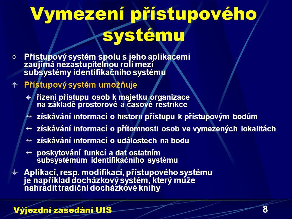 9 Přístupový systém MZLU v Brně I  Koncepce prvků přístupového systému MZLU v Brně  Terminál – stykové místo mezi systémem a uživatelem, uživatel k terminálu přikládá svoji identifikační kartu  Bod – základní jednotka tvořící přístupový systém, je definován aspoň jedním terminálem  Přístupový bod – rozšíření bodu, je určen pro překlenutí dvou oddělených prostorů, typicky dveřní prostor  Fyzický bod – představuje návaznost na hardwarové vybavení bodu, důležitou informací je počet terminálů tvořících fyzický bod  Logický bod – souhrn časových omezení přístupu k danému fyzickému bodu Výjezdní zasedání UIS