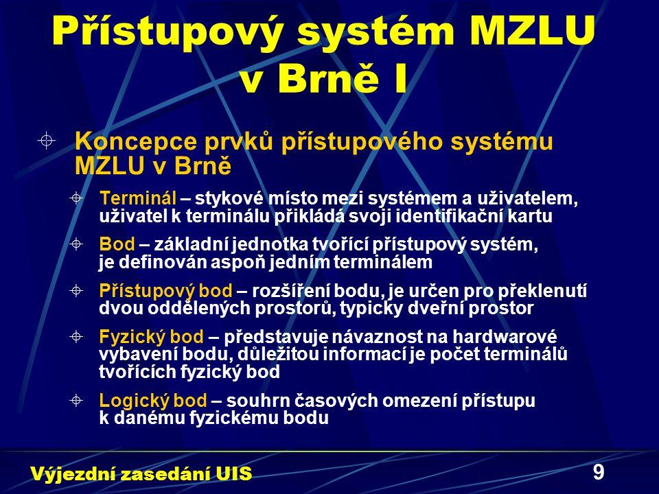 10 Přístupový systém MZLU v Brně II  Zóna – prostor, do kterého je možné vstoupit nebo jej opustit pomocí existujících přístupových bodů  Správce bodu – bod může mít jednoho nebo více správců, kteří mají oprávnění modifikovat oprávnění přístupu na bod  Pracoviště bodu – pracoviště MZLU v Brně, kterému daný bod podléhá  Atributy bodu – každý bod má své atributy, které se liší podle typu bodu – odlišné atributy pro bod fyzický nebo logický  Informace poskytované bodem – bod obsahuje informace o přidělených oprávněních, použití bodu, pokusech o neoprávněná použití bodu a o událostech na bodu Výjezdní zasedání UIS