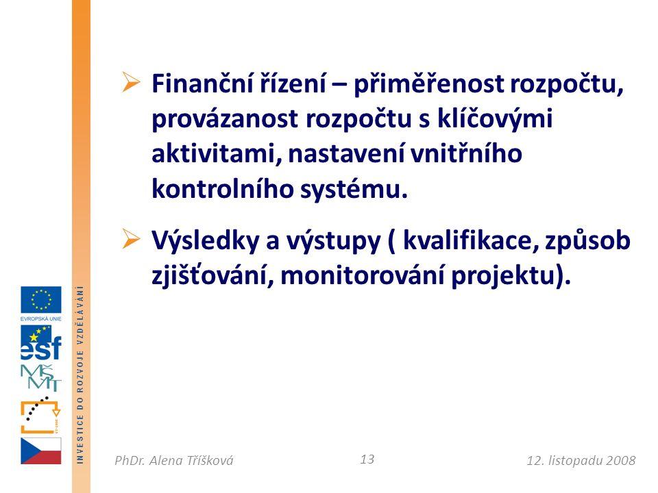 I N V E S T I C E D O R O Z V O J E V Z D Ě L Á V Á N Í 12. listopadu 2008PhDr. Alena Tříšková  Finanční řízení – přiměřenost rozpočtu, provázanost r