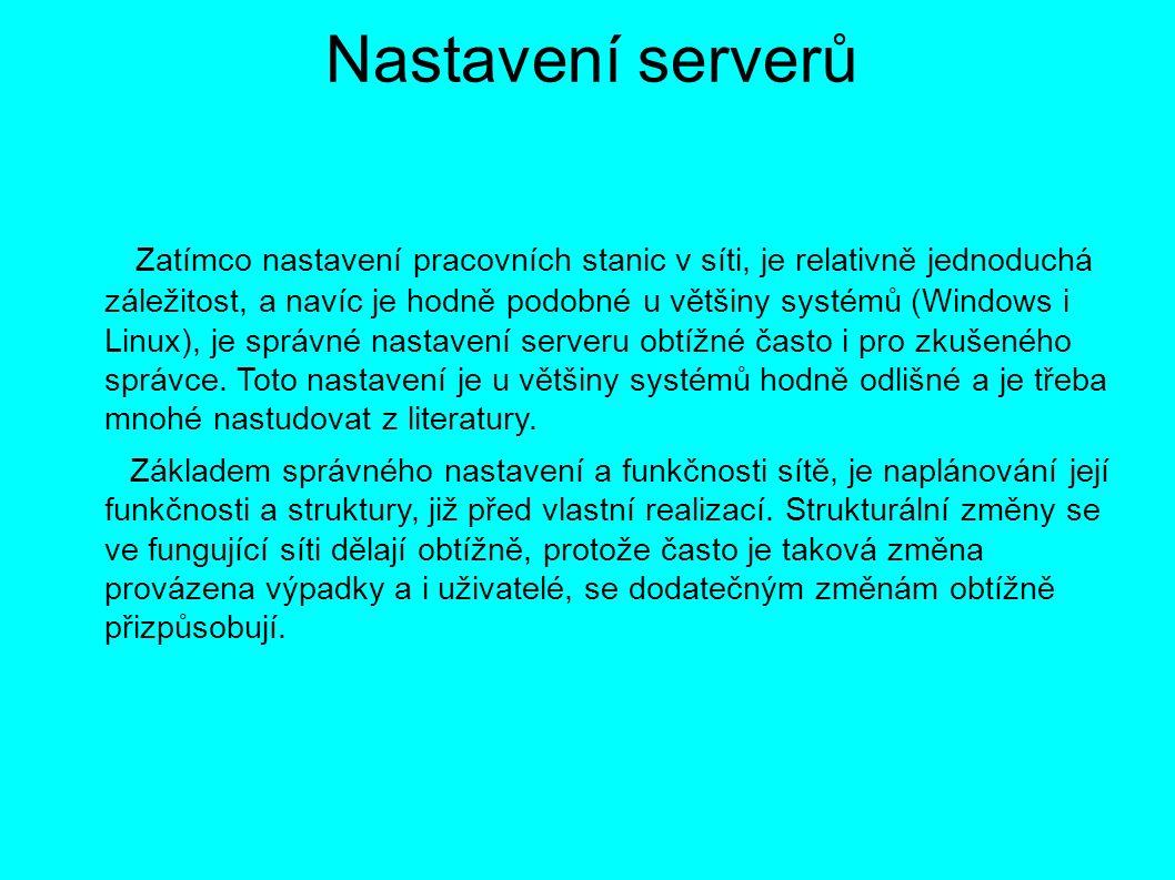 Nastavení serverů Zatímco nastavení pracovních stanic v síti, je relativně jednoduchá záležitost, a navíc je hodně podobné u většiny systémů (Windows i Linux), je správné nastavení serveru obtížné často i pro zkušeného správce.