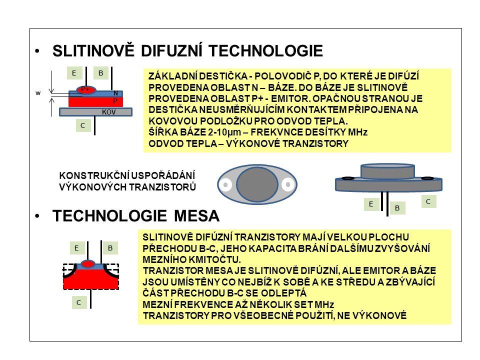 SLITINOVĚ DIFUZNÍ TECHNOLOGIE TECHNOLOGIE MESA EB C ZÁKLADNÍ DESTIČKA - POLOVODIČ P, DO KTERÉ JE DIFÚZÍ PROVEDENA OBLAST N – BÁZE.