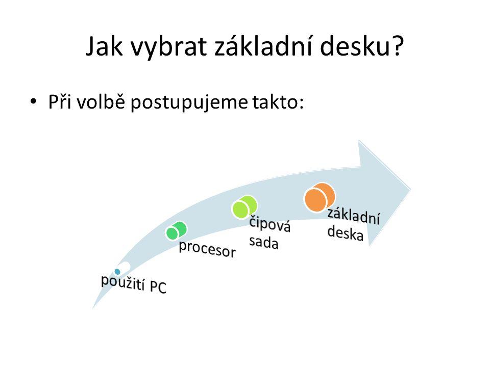 Jak vybrat základní desku Při volbě postupujeme takto: