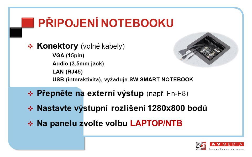 PŘIPOJENÍ NOTEBOOKU  Konektory (volné kabely) VGA (15pin) Audio (3,5mm jack) LAN (RJ45) USB (interaktivita), vyžaduje SW SMART NOTEBOOK  Přepněte na externí výstup (např.