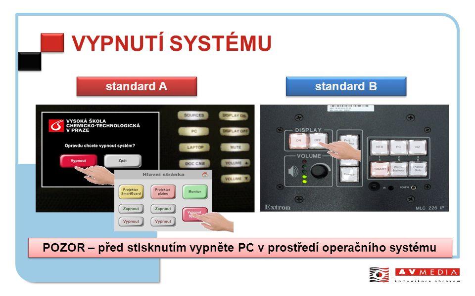 VYPNUTÍ SYSTÉMU standard A standard B POZOR – před stisknutím vypněte PC v prostředí operačního systému