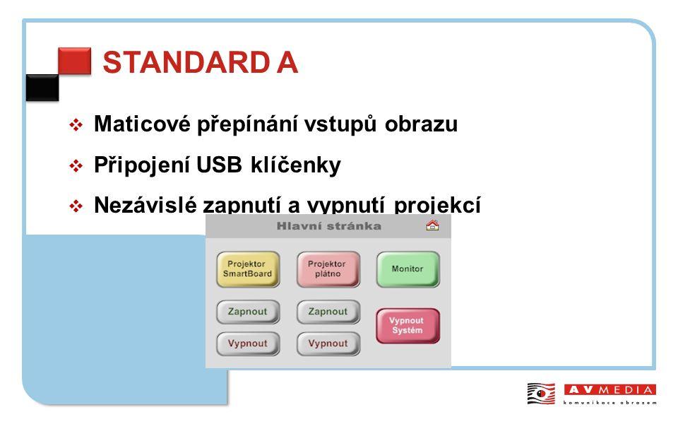 STANDARD A  Maticové přepínání vstupů obrazu  Připojení USB klíčenky  Nezávislé zapnutí a vypnutí projekcí