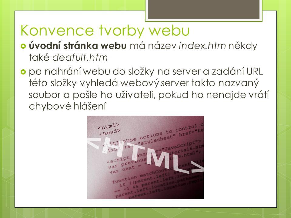Konvence tvorby webu  úvodní stránka webu má název index.htm někdy také deafult.htm  po nahrání webu do složky na server a zadání URL této složky vy