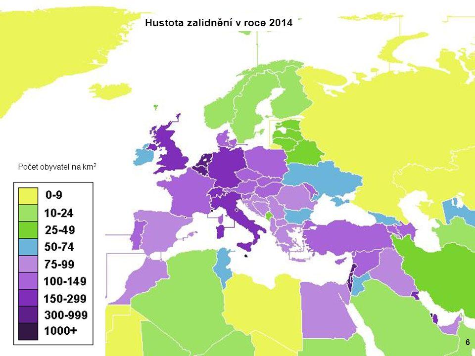 6 Hustota zalidnění v roce 2014 Počet obyvatel na km 2