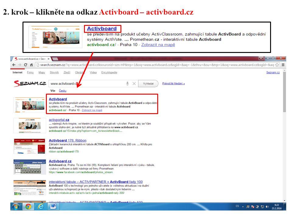 2. krok – klikněte na odkaz Activboard – activboard.cz