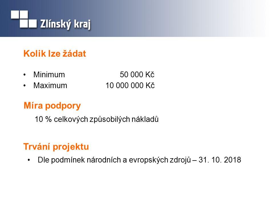 Kolik lze žádat Minimum 50 000 Kč Maximum10 000 000 Kč Míra podpory 10 % celkových způsobilých nákladů Trvání projektu Dle podmínek národních a evrops