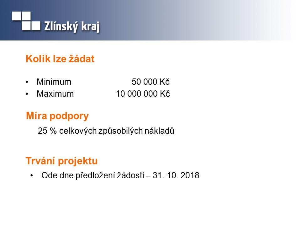 Kolik lze žádat Minimum 50 000 Kč Maximum10 000 000 Kč Míra podpory 25 % celkových způsobilých nákladů Trvání projektu Ode dne předložení žádosti – 31.
