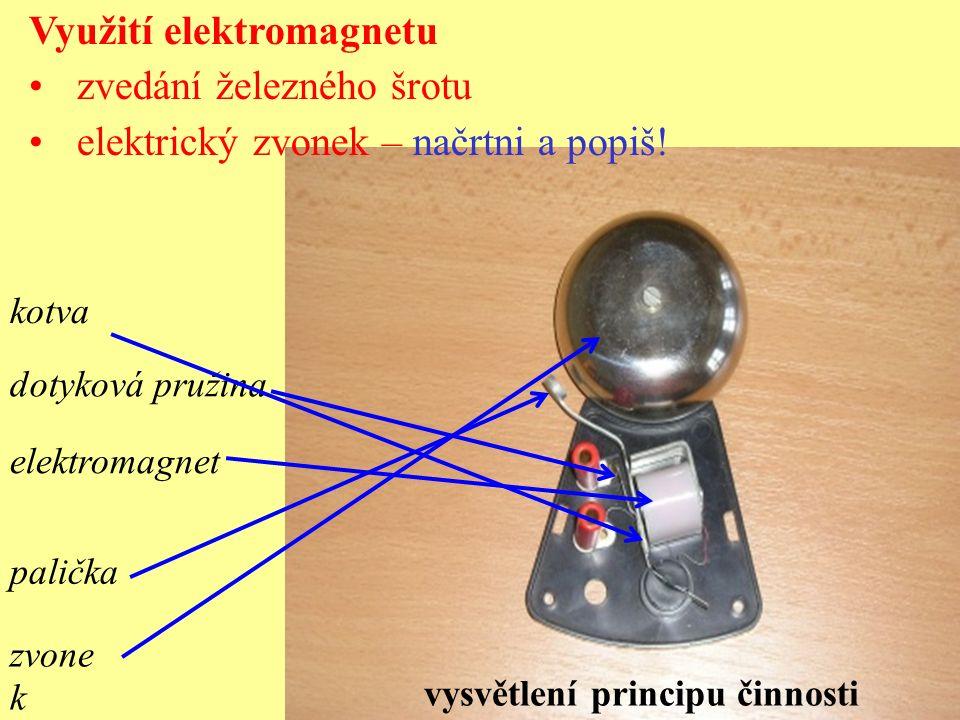 palička zvone k kotva dotyková pružina elektromagnet Využití elektromagnetu zvedání železného šrotu elektrický zvonek – načrtni a popiš! vysvětlení pr