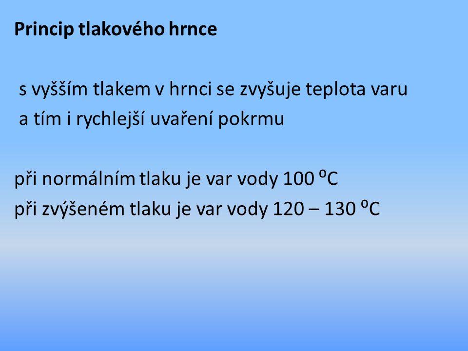 Princip tlakového hrnce s vyšším tlakem v hrnci se zvyšuje teplota varu a tím i rychlejší uvaření pokrmu při normálním tlaku je var vody 100 ⁰C při zvýšeném tlaku je var vody 120 – 130 ⁰C