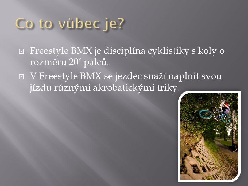  Freestyle BMX je disciplína cyklistiky s koly o rozměru 20' palců.  V Freestyle BMX se jezdec snaží naplnit svou jízdu různými akrobatickými triky.