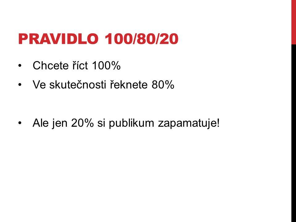 PRAVIDLO 100/80/20 Chcete říct 100% Ve skutečnosti řeknete 80% Ale jen 20% si publikum zapamatuje!