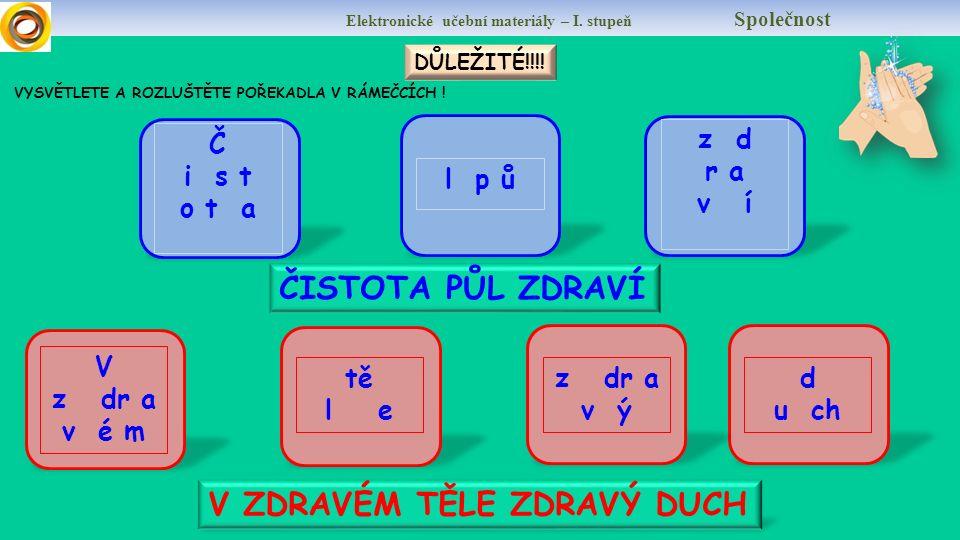 Elektronické učební materiály – I. Stupeň Společnost A TEĎ SAMOSTATNĚ CO JE ZDRAVĚJŠÍ.