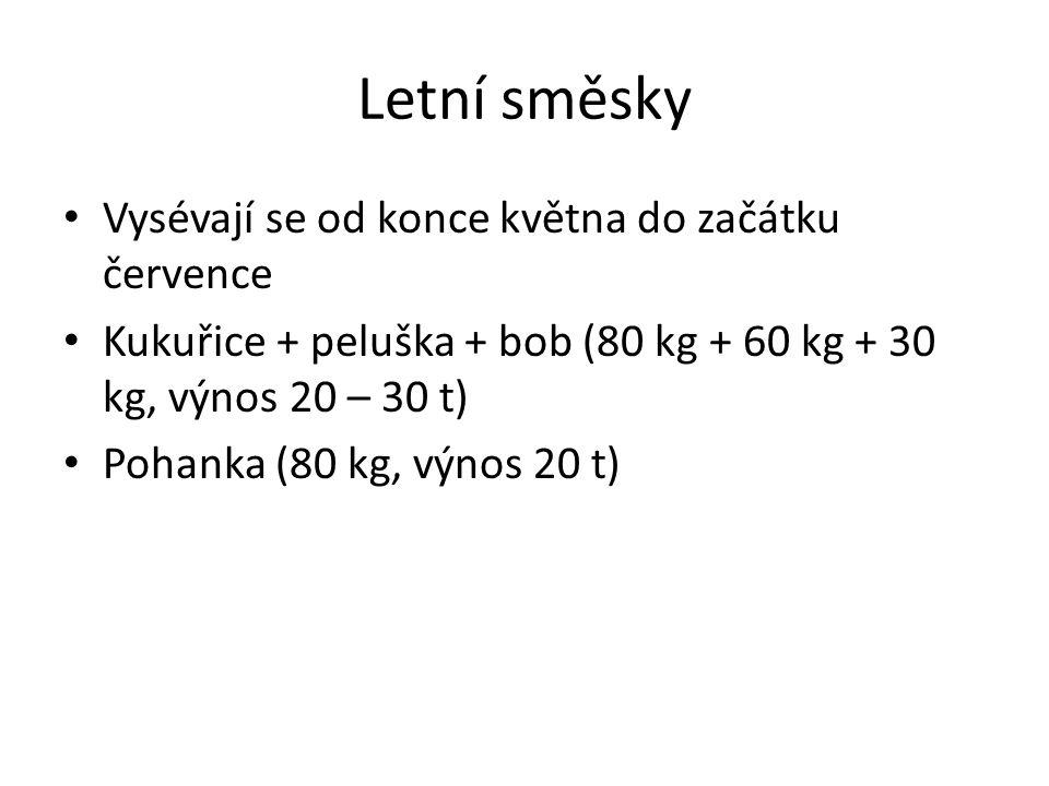 Letní směsky Vysévají se od konce května do začátku července Kukuřice + peluška + bob (80 kg + 60 kg + 30 kg, výnos 20 – 30 t) Pohanka (80 kg, výnos 20 t)