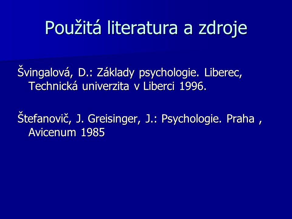 Použitá literatura a zdroje Švingalová, D.: Základy psychologie.