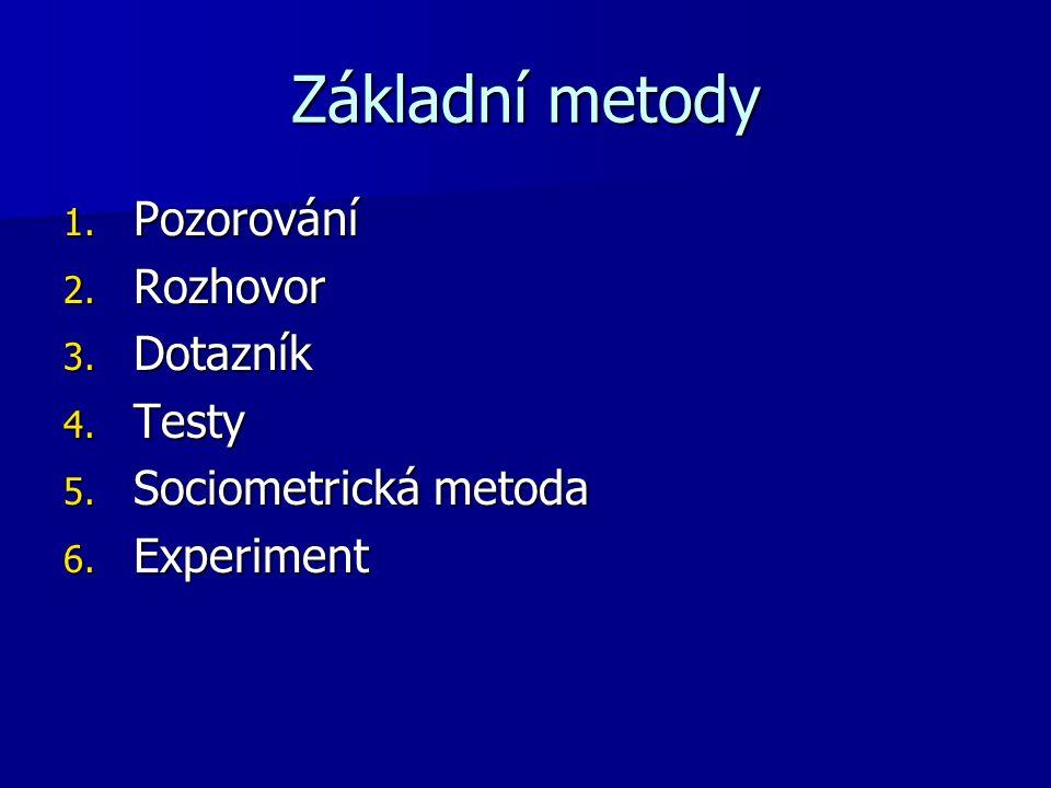 Základní metody 1. Pozorování 2. Rozhovor 3. Dotazník 4.