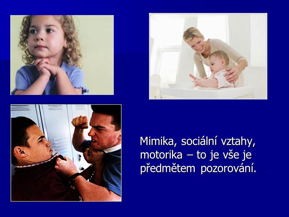Mimika, sociální vztahy, motorika – to je vše je předmětem pozorování.