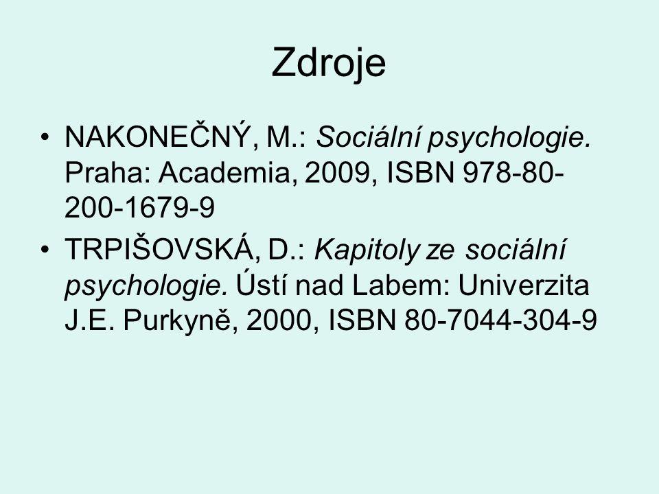 Zdroje NAKONEČNÝ, M.: Sociální psychologie.