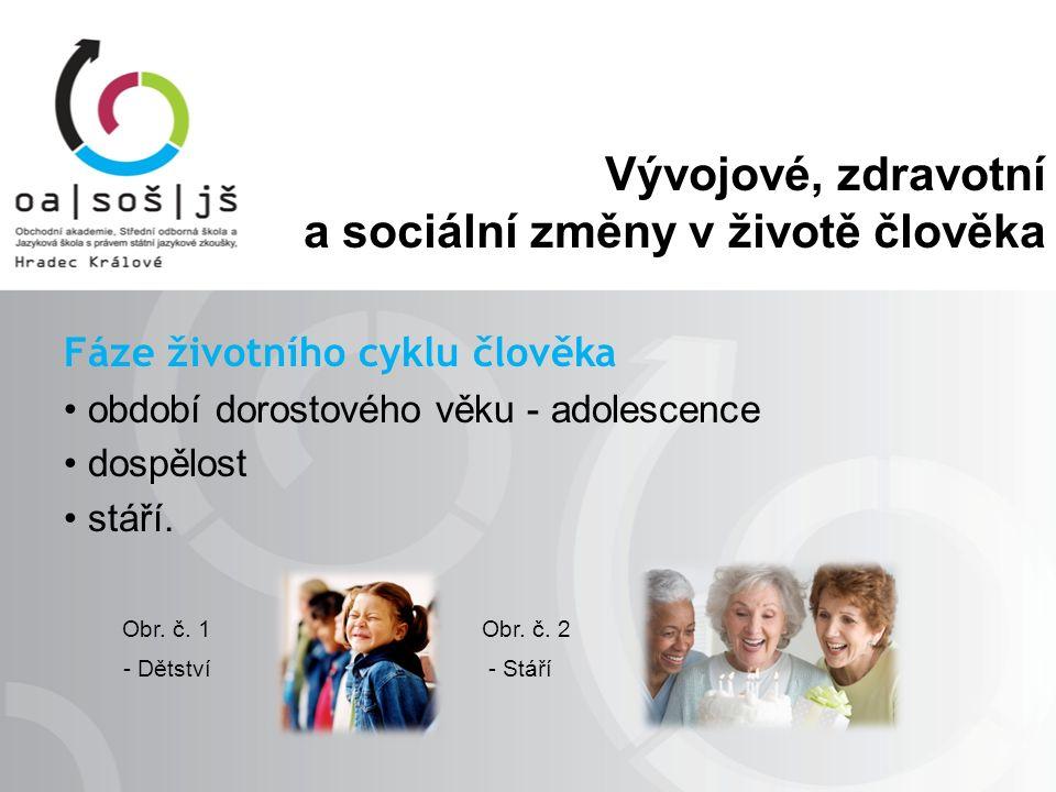 Vývojové, zdravotní a sociální změny v životě člověka Fáze životního cyklu člověka období dorostového věku - adolescence dospělost stáří.