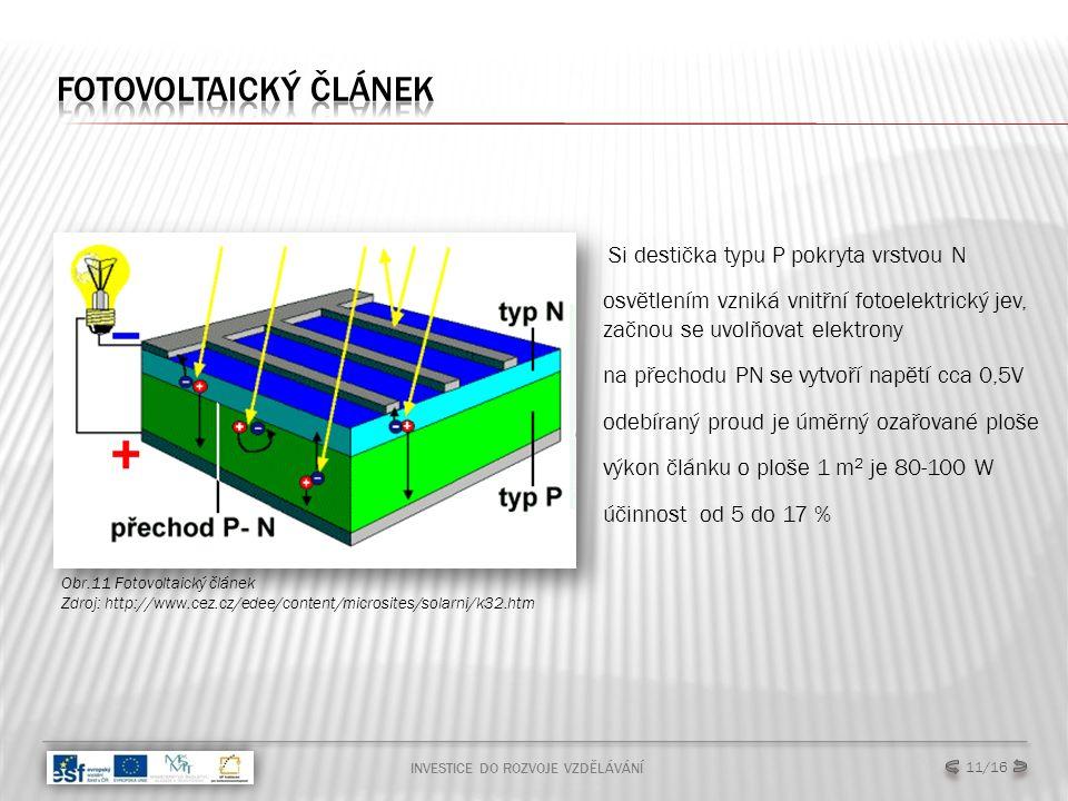 INVESTICE DO ROZVOJE VZDĚLÁVÁNÍ 11/16 Obr.11 Fotovoltaický článek Zdroj: http://www.cez.cz/edee/content/microsites/solarni/k32.htm Si destička typu P pokryta vrstvou N osvětlením vzniká vnitřní fotoelektrický jev, začnou se uvolňovat elektrony na přechodu PN se vytvoří napětí cca 0,5V odebíraný proud je úměrný ozařované ploše výkon článku o ploše 1 m 2 je 80-100 W účinnost od 5 do 17 %